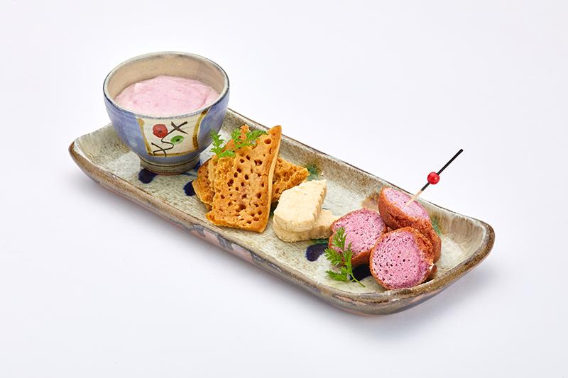 伝統菓子3種紅いもチーズクリーム添え