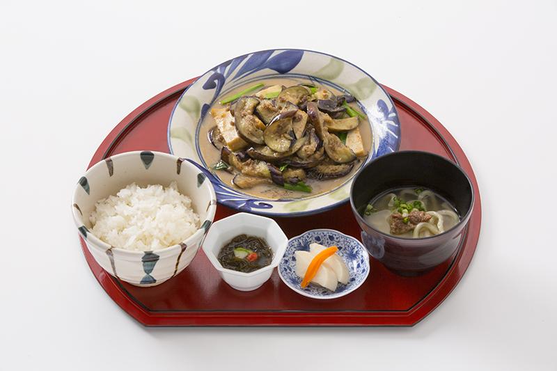 ナスの味噌炒め定食